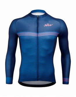 Men's Long Sleeves Cycling Jersey STRIPES Indigo