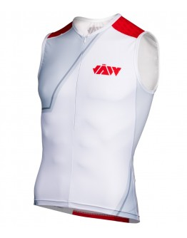 Men's Tri Singlet BIG J White Red