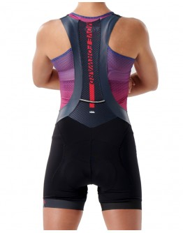 Women's Cycling Bib Shorts MOVE FORWARD Metal Grey Pink
