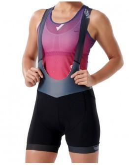 Women's Cycling Bib Shorts MOVE FORWARD Metal Grey Pink