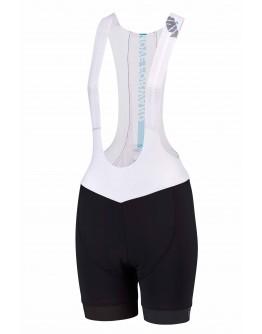Women's Cycling Bib Shorts MOVE FORWARD White Aqua Blue