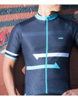 Men's Cycling Jersey SPRINT Black Sky Blue