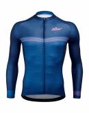 Men's Long Sleeves Cycling Jersey STRIPES Indigo