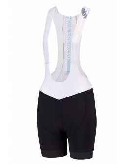 Women's Cycling Bib Shorts MOVE FORWARD White Aqua Blue